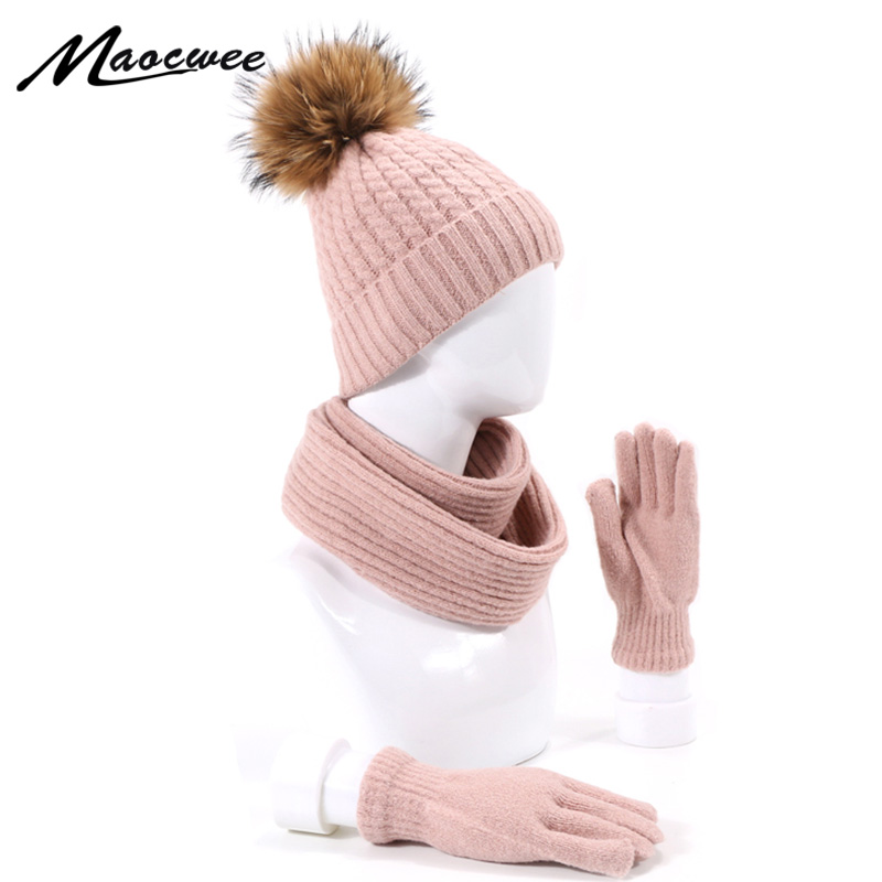 Winter Pompon Hat Scarf Gloves Set With Lining For Men And Women Solid Outdoor Knitted Warm Real Fur Beanie Hat Scarf Golves Set