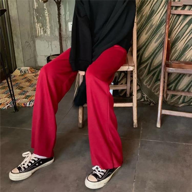 He281f40ca4bd4ad68273934cc83dc07d2 - Autumn / Winter High Waist Elastic Broadcloth Straight Solid Pants