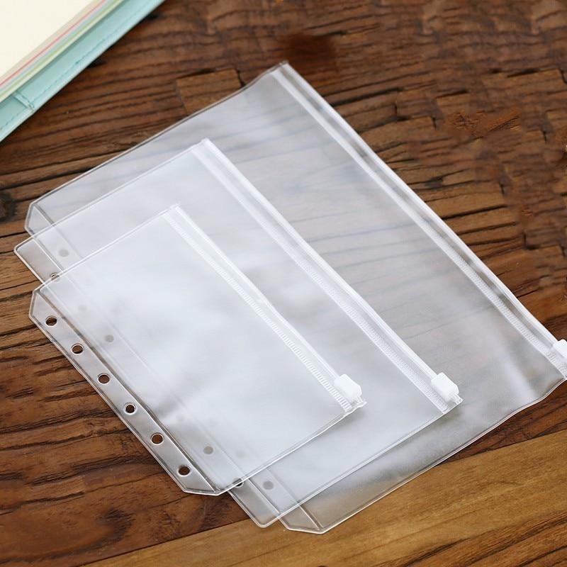 A5/A6/A7 Waterproof PVC Spiral Zipper Bag Planner Transparent Loose Sheet Card Bag