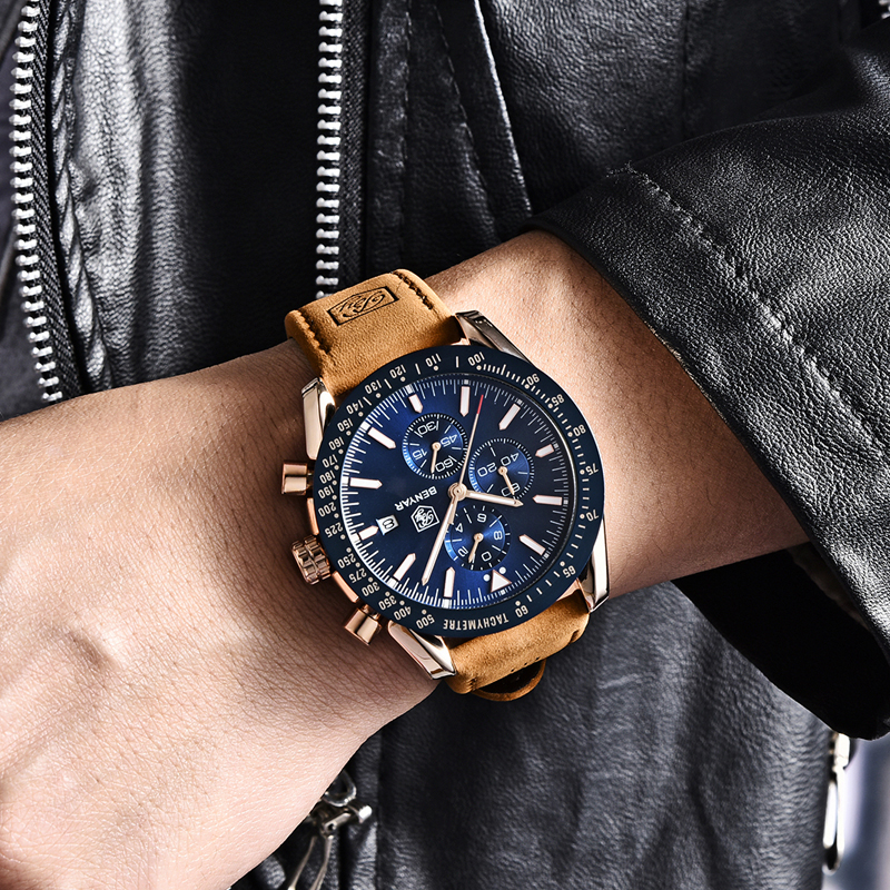 2019 New BENYAR Men Watches Luxury Brand Leather Waterproof Sport Quartz Chronograph Military Watch Men Clock Relogio Masculino