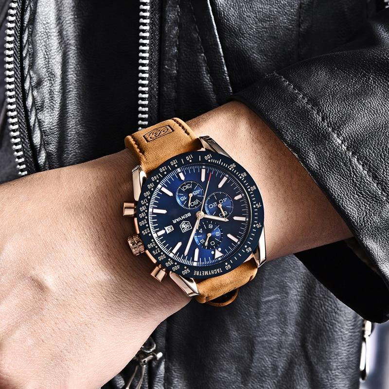 2019 New BENYAR Men Watches Luxury Brand Leather Waterproof Sport Quartz Chronograph Military Watch Men Clock Relogio Masculino