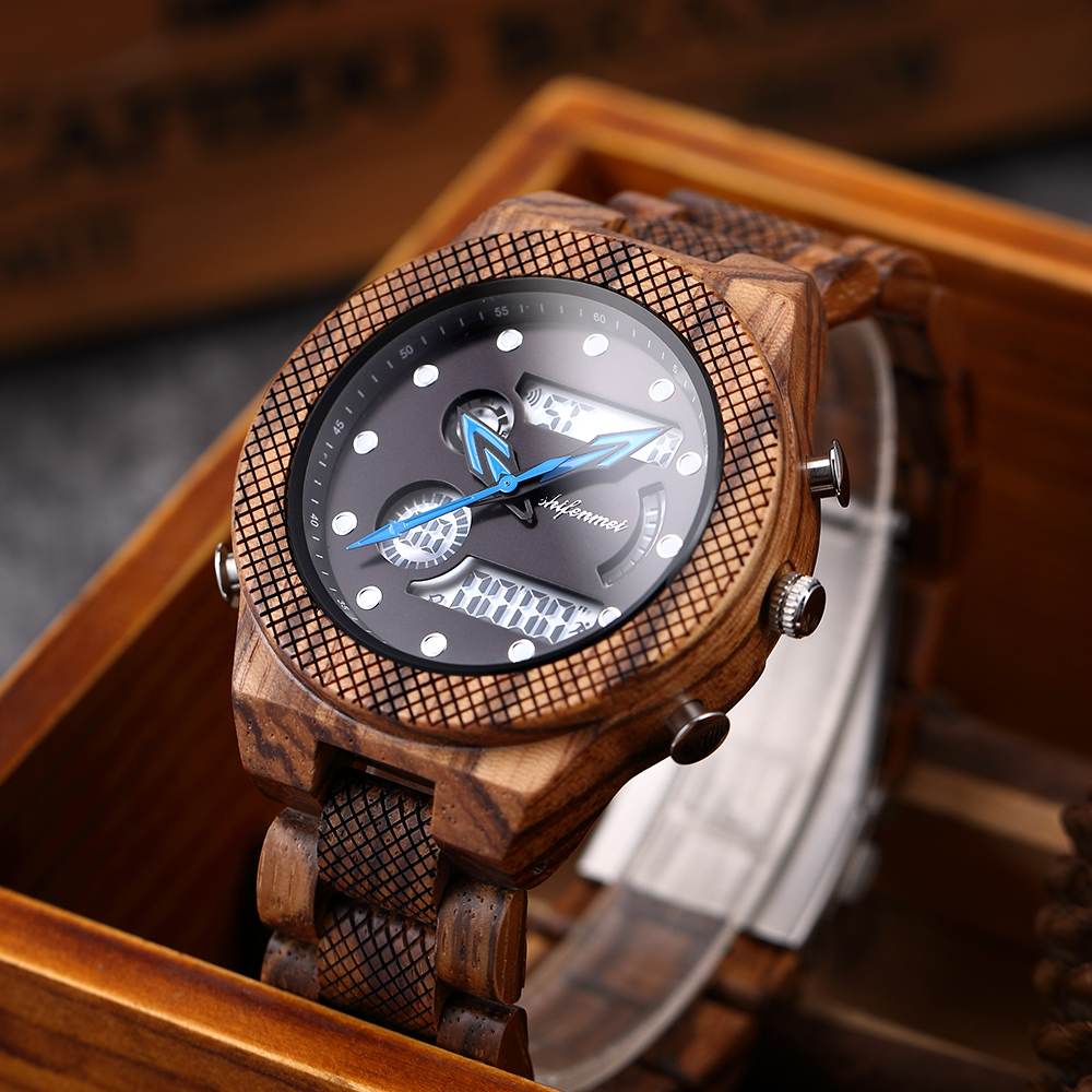 Shifenmei Wood Watch Military-Clock Digital Quartz Men Male Sports Luxury Brand LED title=