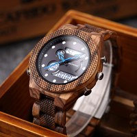 Shifenmei Wood Watch Luxury Brand Watches Men Sports Watches LED Digital Quartz Men Military Clock Wooden Wristwatch Male 2020