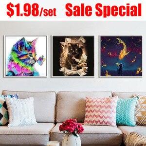 Image 5 - Kot żywica 5D zestaw do malowania diamentami mozaika w pełni z okrągłych kwadratowy monitor haft sprzedaż kreskówka zwierząt ściegu dekoracji wnętrz