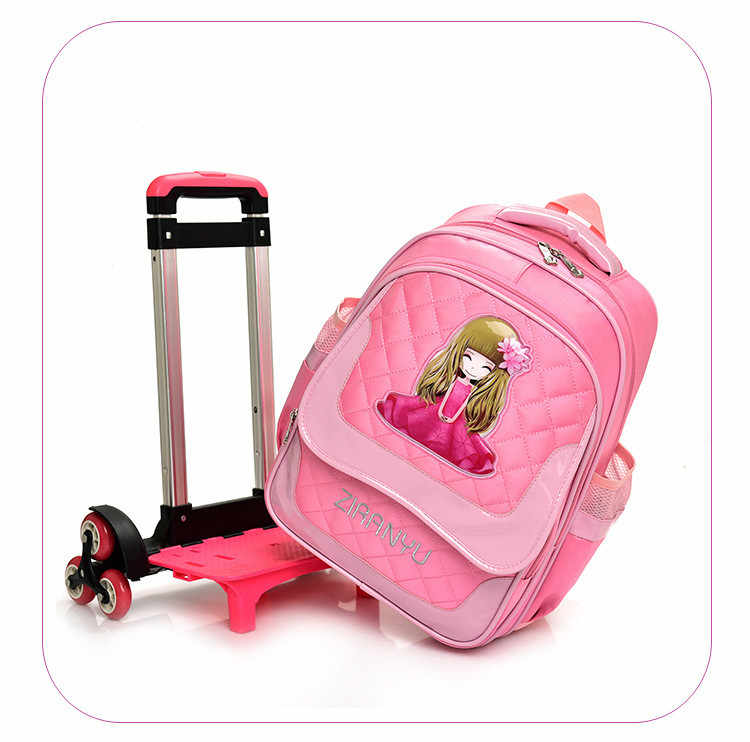 2/6 Wheels Children School bags Primary student trolley backpack Girls rolling luggage travel bag on wheels Detachable Backpack