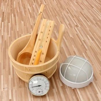 6 uds. Conjunto de cubeta de madera de pino para Sauna, lámpara de revestimiento de reloj de arena, conjunto de termo-higrómetro, equipo de Sauna para el hogar, Kit de barril de madera de pino