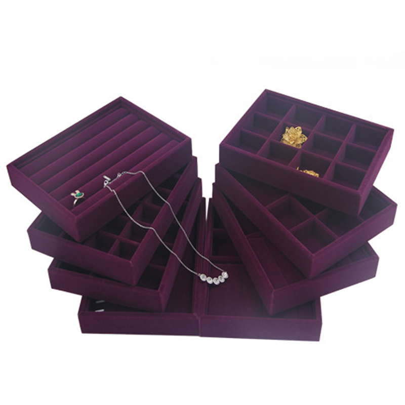 Jewelry-Ring Display-Tray Organizers Storage-Showcase Stackable Velvet Purple 24-Girds-Case-Holder title=