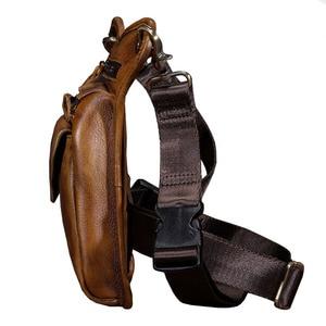 Image 4 - גברים של מטורף סוס עור זרוק רגל תיק פאני חבילת מותן ירך היפ Bum חגורת שליח כתף תיק נסיעות אופנוע