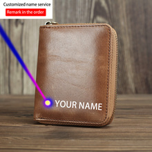 2016 New Hot Sale Cattle Men male short design vintage crazy horse Genuine leather zipper Around Wallet Purse 2016 new head layer crazy ma pipi new import two fold leather wallet men s short wallet leather folder hot free shipping