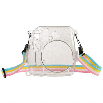 цена на Camera Bag Shining Transparent Plastic Cover Protect Case For Fujifilm Fuji Instax Mini 9 8 8+ Instant With Strap