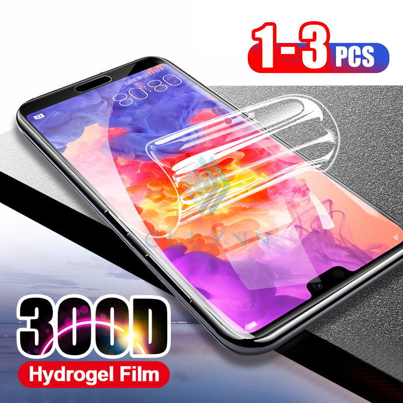 <font><b>300D</b></font> 3-1Pcs Full Cover Hydrogel Soft Film For Huawei P20 P30 Honor 9X 20 Pro 20S 8 9 10 Lite 10i Screen Protector Film Not Glass image