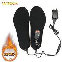 Elektrycznie podgrzewane wkładki z pilotem zasilany z baterii dla kobiet buty zimowe narty Ridding Camping klocki rozmiar EUR 35 46 # w Wkł. do butów od Sport i rozrywka na