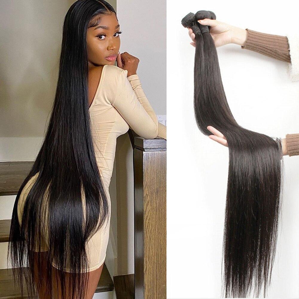 Кости прямые человеческие волосы пряди 30 32 34, 36, 38, 40 дюймов бразильские 100% человеческих волос Remy пряди человеческих волос для наращивания во...