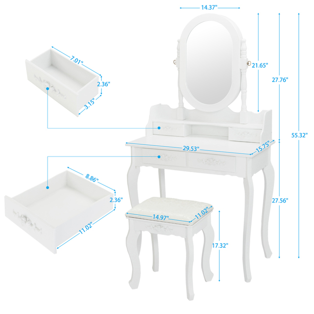 Dresser with Single Mirror Jewelry Cabinet 4 drawer Queen anne style legs White 4