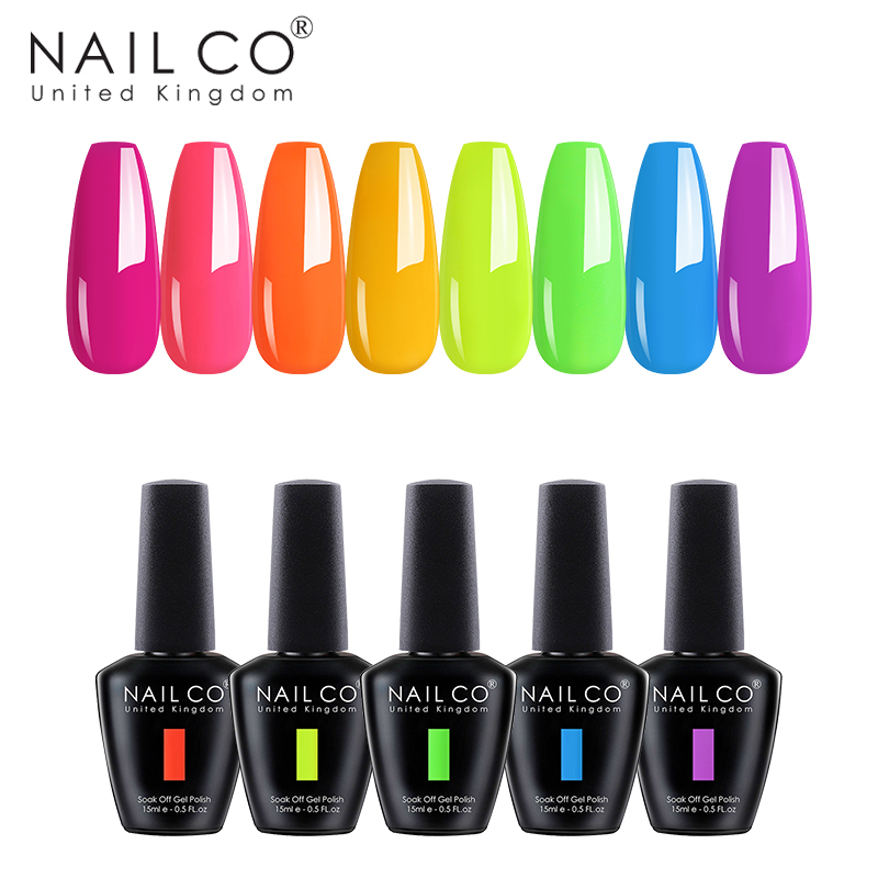 NAILCO Summer Color Gel Nail Polish Nails Glitter Colorful Varnish Gel for Nail Hybrid Nude Lacquer 15ml Long Lasting Nail Gel(China)