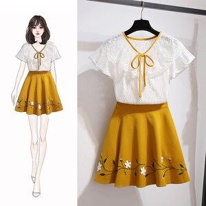 Милая Кружевная белая блузка с оборками и бусинами, плиссированная мини-юбка, женское милое повседневное школьное платье из двух предметов