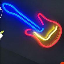 Светодиодный неоновый светильник знак гитары Настенный декоративный