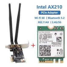 Desktop wi-fi 6 intel ax210 pcie wifi adaptador bluetooth 5.2 3000mbps 802.11ax ax210ngw sem fio wifi 6e cartão windows 10 linux