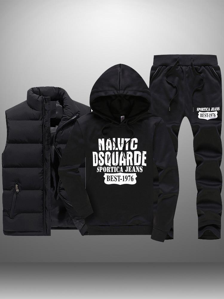 Winter Tracksuits Sweatshirts Hoodie Vest Sportswear Mens Set Casual Men's 3pieces Warm