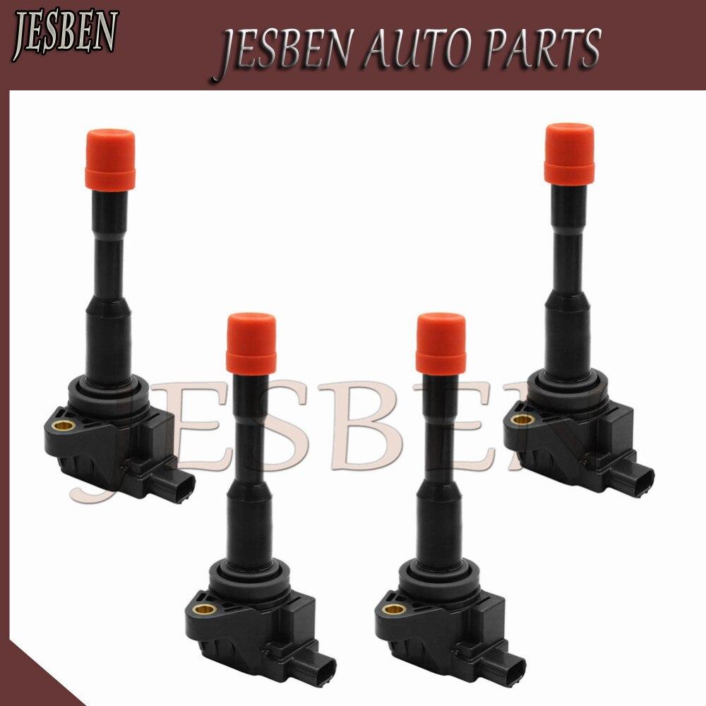 4X ด้านหลัง IGNITION COIL 30521-PWA-003 Fit สำหรับ Honda Civic 7 8 VII VIII JAZZ FIT 2 3 III 1.2 1.3 1.4 UF374 CM11-108 CM11-108C
