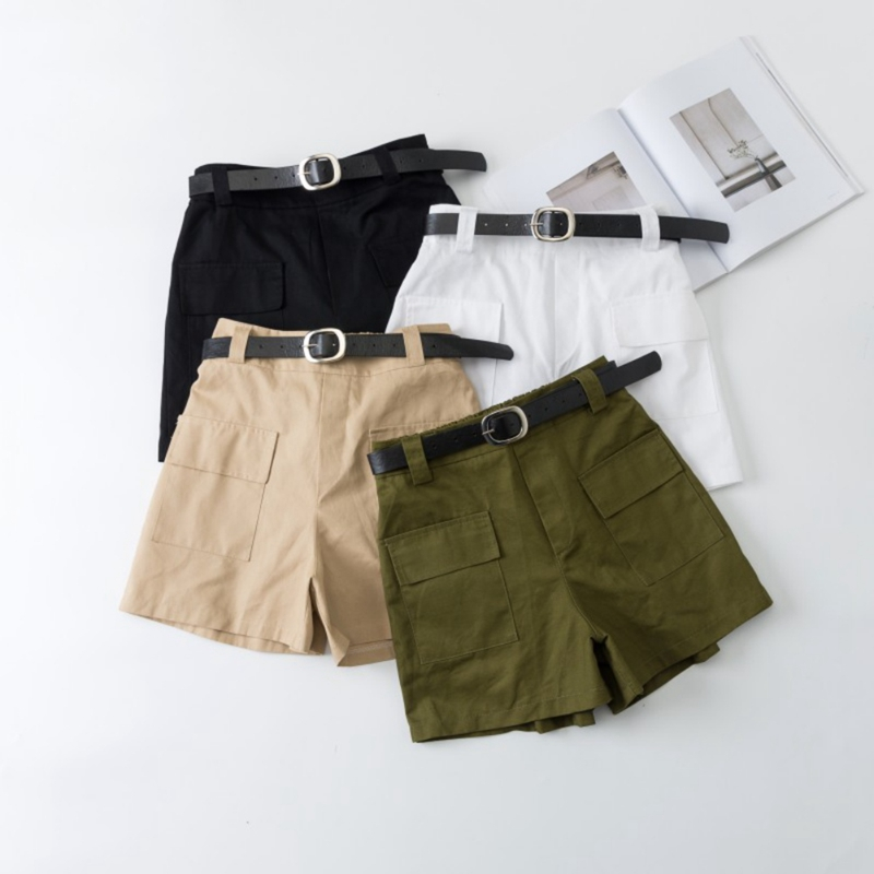 Stretch High Waist Pocket Shorts With Belt Women Summer Tooling Wide Leg Safari Style Shorts Vintage Sexy Cotton Street Shorts