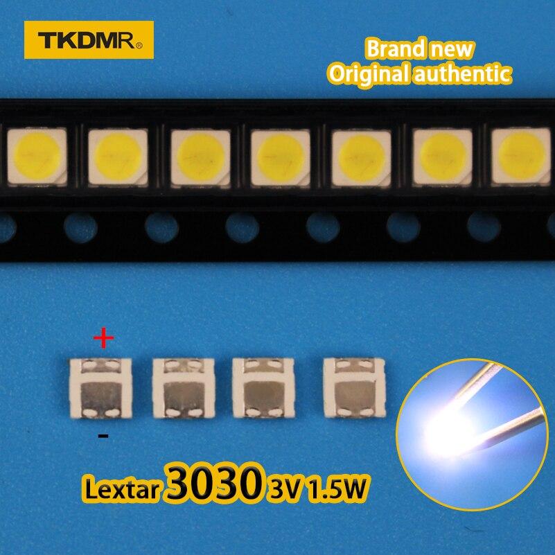 TKDMR 100Pcs Lextar 3030 3V 1.5w 350mA  SMD Lamp Beads For LED TV Backlight Strip Bar Repair TV Cool White Free Shipping