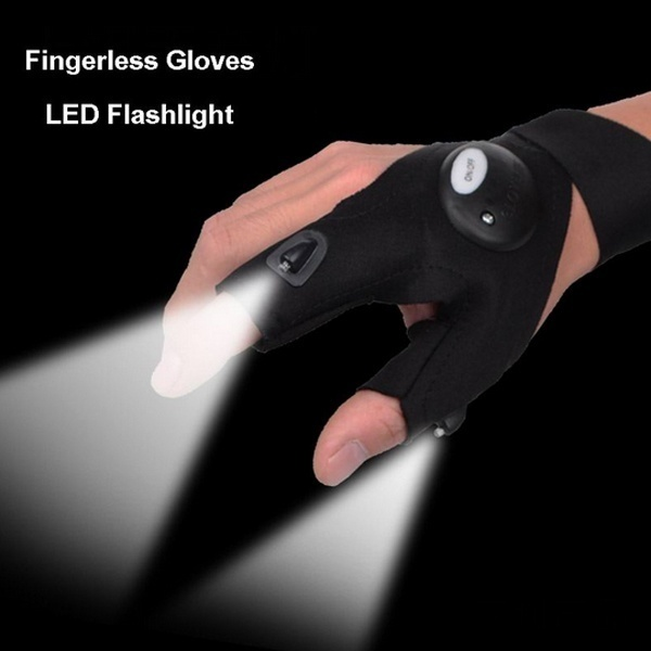 1pc Outdoor Fishing Magic Strap Fingerless Gloves LED Flashlight Torch Cover Survival Camping Hiking Cycling Rescue Tool Gloves