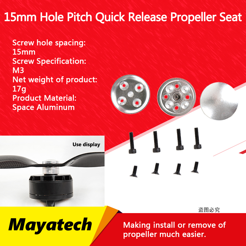 Mayatech CNC 15 mm hole pitch Aluminum Round Quick Release Propeller Seat CW CCW Propeller Adapter for UAV Q6L 6215 6035 etc.