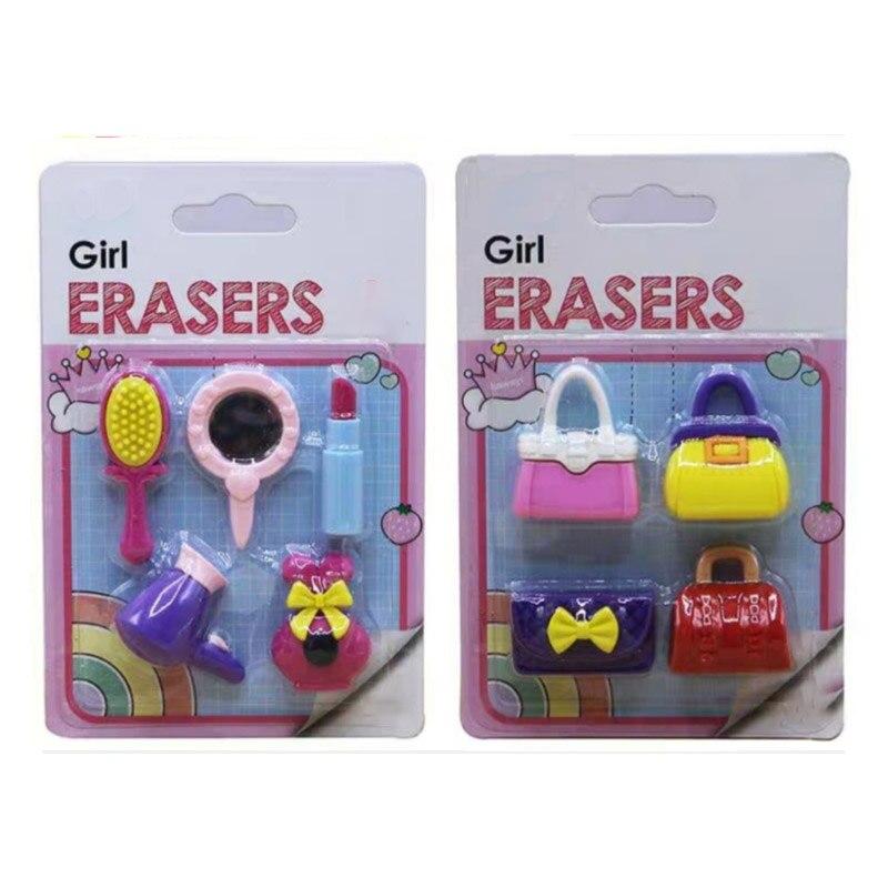 Girl Cosmetics Stuff Shaped Korean Style Rubber Erasers Lady Shopping Handbags Eraser Erasable Tools Toys 9 Pieces/lot