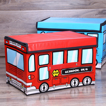 Cartoon Bus Shape Storage Box Folding Storage Basket for Kids Clothes with Cover Non-woven Toy Storage Bins Storage Organizer 05 2 004 folding double open visual storage box for clothes grey