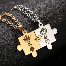Quebra-cabeça pedaço colar poker k e q pingentes colares casais jóias de aço inoxidável link corrente colar rei e rainha coroa
