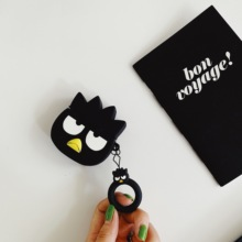 case for airpods black penguin cute cartoon silicone bluetooth headset Earphone Cover shell AirPods Headphone