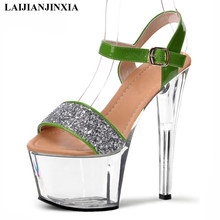 LAIJIANJINXIA New 17Cm Green Silver Glitter Women Sandals Ankle Straps Clear Heels Platform Shoes Custom Colors Transparent Shoe(China)
