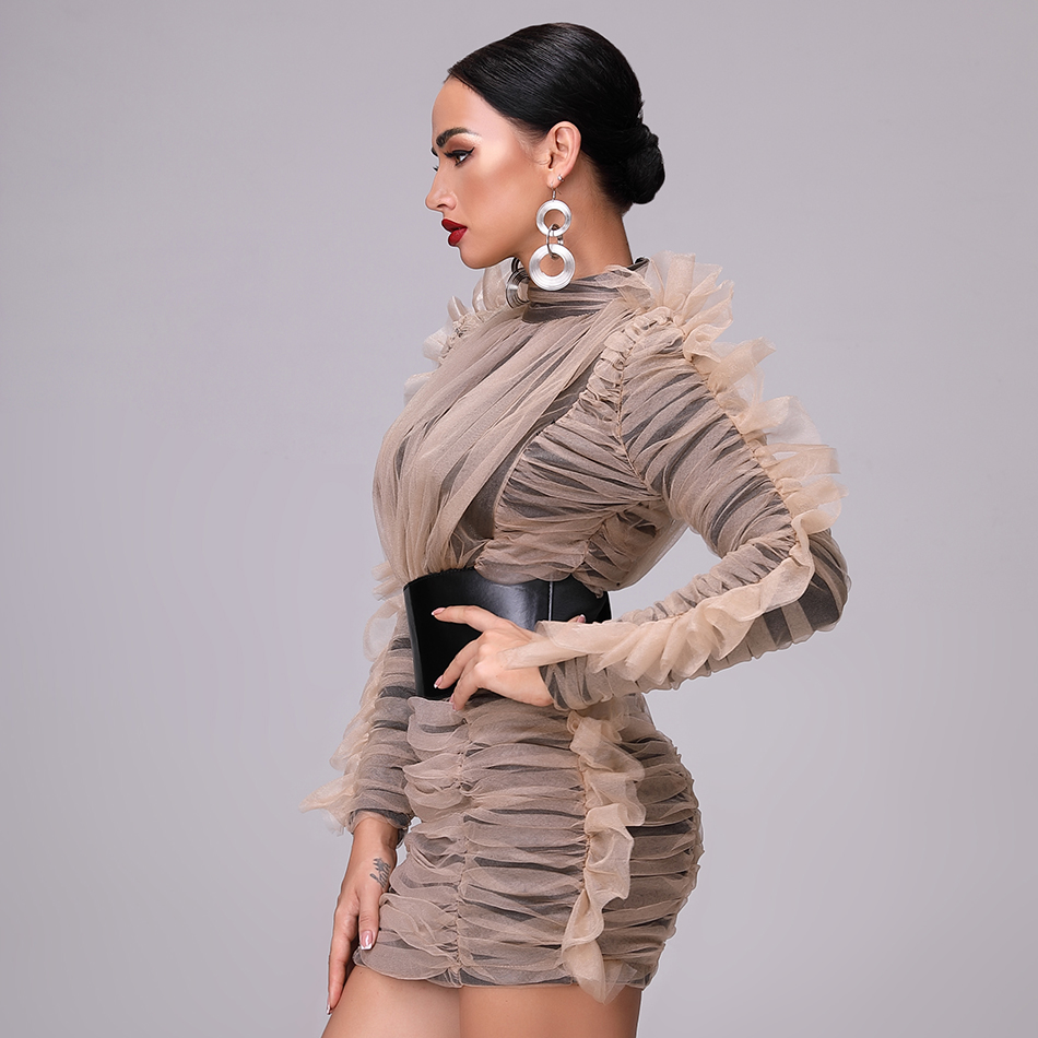 2019 Nuovo Inverno Vestito di Alta Collare Vestito Stretto Maglia Della Cinghia Delle Signore del Club Vestito da Partito Maniche Lunghe Rugosa Vestito Increspato Mini vestito-in Abiti da Abbigliamento da donna su  Gruppo 3