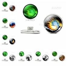 Luminous 18mm Snap yin yang cat tree of life drogon Phoenix Glass Cabochon Botton DIY Jewelry