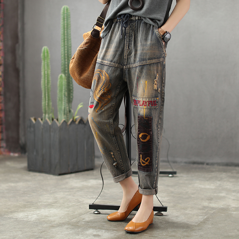 Vintage Printing Harem Jeans For Woman Elastic Waist Denim Pants Casual All Match Summer  Free Size Calf-lenght Jeans AB2Z40