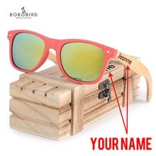 بوبو الطيور النظارات الشمسية النساء تخصيص الاستقطاب الزجاج الخشب UV400 نظارات gafas دي سول موهير نقش اسم على الساقين في صندوق هدية خشبي