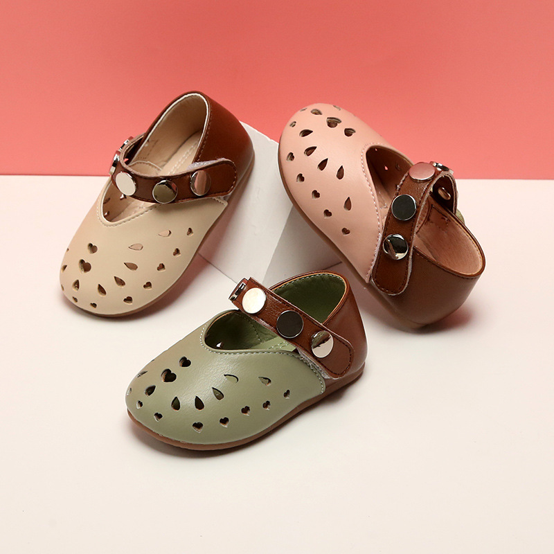 2020 Spring Girls Hollow Leather Shoes 0-3Y Breathable Toddler Girls Single Shoes Soft Sole Baby First Walkers Princess Shoes
