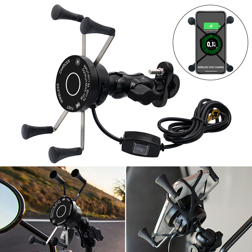 Motorcycle Wireless Wired Two-in-one Charger Phone Holder