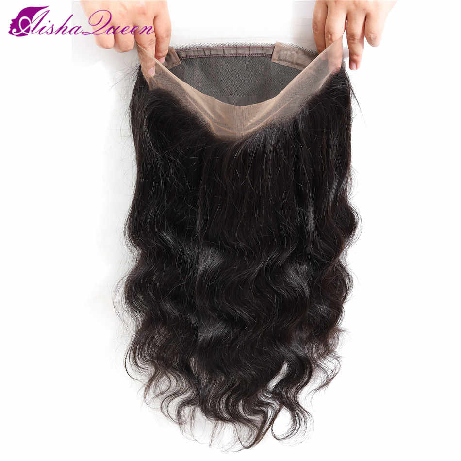Aisha Queen Hair 360 Lace Frontal Closure Brazilian Body Wave Frontal With Baby Hair Non Remy Human Hair Lace Closure Free Part