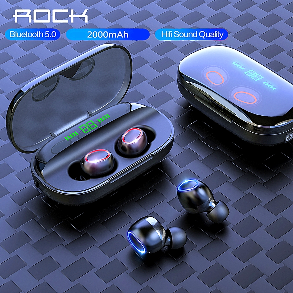 ROCK Wireless Bluetooth V5.0 <font><b>Earphone</b></font> LED Display <font><b>8D</b></font> HIFI In-Ear Stereo Earbuds 2000 mAh Power Sport Headset With Microphone image