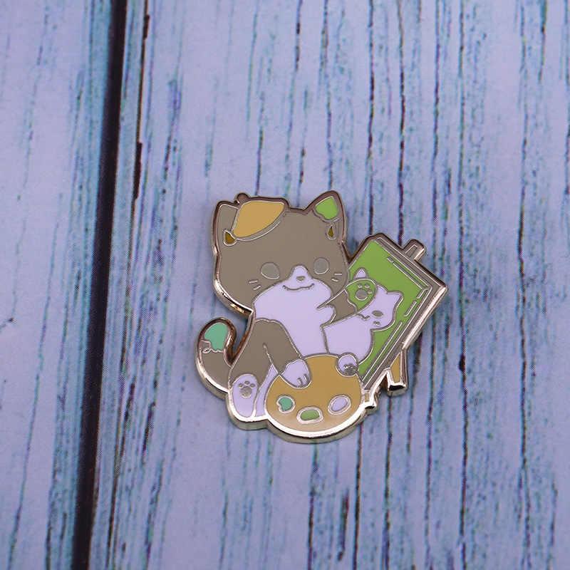 Schattige Kunstenaar Kat Emaille Pin Schilderij Palet Sieraden