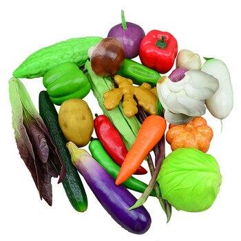 Decoraciones artificiales Color burbuja simulación de verdura Col rábano tomate Scallion Chili modelo fotografía 5 pc/lote