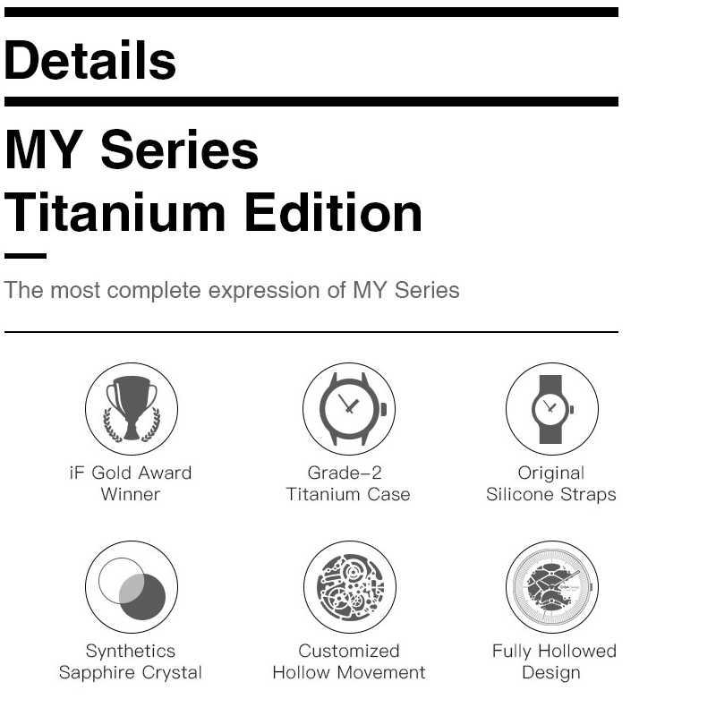 CIGA DESIGN CIGA นาฬิกา MY Series TITANIUM Edition อัตโนมัติกลวงนาฬิกาผู้หญิงผู้ชายแฟชั่นนาฬิกา
