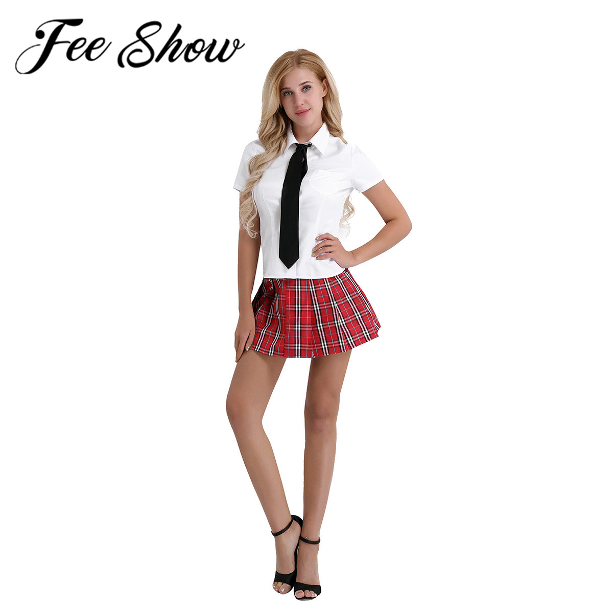 Women School Girl Outfits Fancy Dress Cosplay Costume Shirt with Plaid Skirt Tie