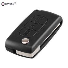KEYYOU 20pcs Light Symbol 3 Button Flip Folding Car Key Shell For PEUGEOT 107 207 307 308 406 408 Remote Key Fob Case Cover
