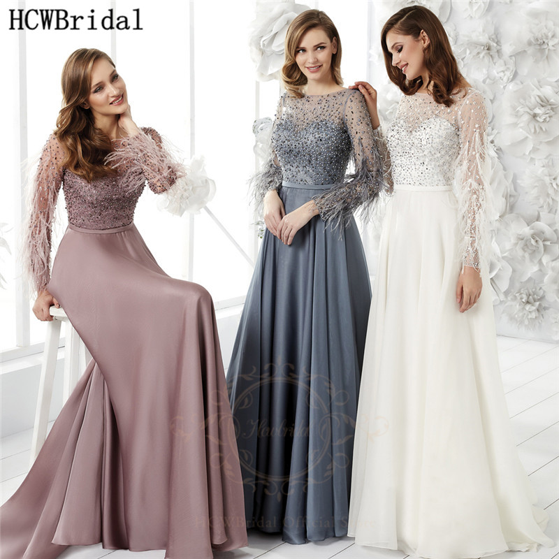 White Glitter Long Sleeves Prom Dresses Feathers Satin A Line Long Elegant Evening Party Dress Plus Size Formal Occasion Gowns
