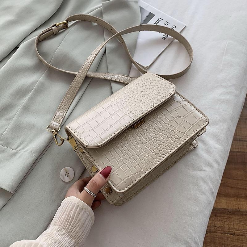 Stone Pattern PU Leather Crossbody Bags For Women 2020 Small Shoulder Handbags Female Cross Body Bag Travel Purses