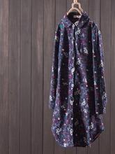 Floral ethnic long sleeves plus velvet thickened long trench coat cheap Full WOMEN Turn-down Collar Rivet Single Breasted Skirt Denim Office Lady COTTON Linen