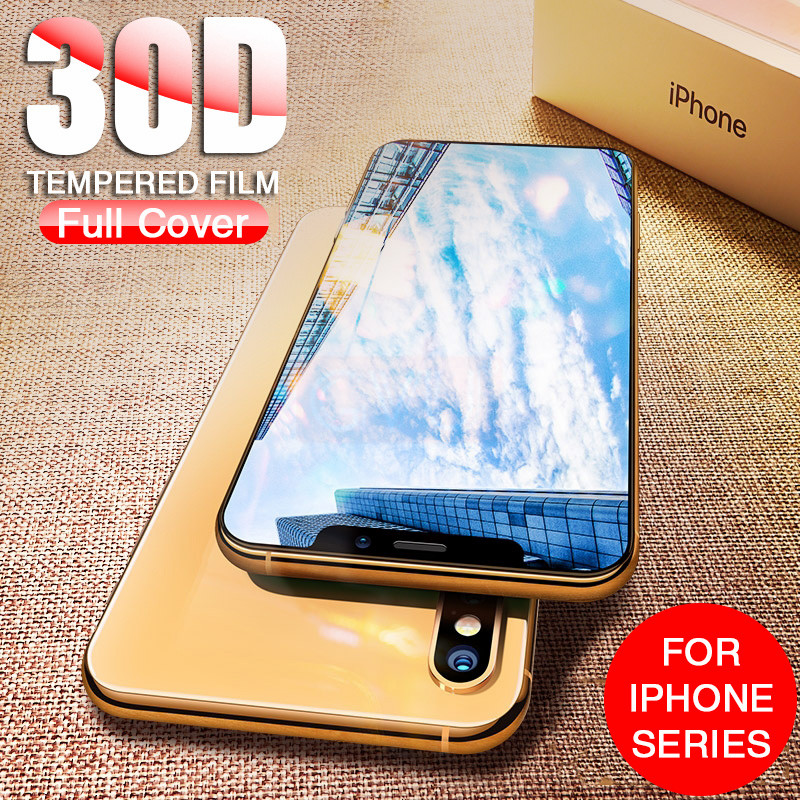 30D Curved Edge Protective Glass For Iphone X XS MAX XR Screen Protector Glass On Iphone XR XS MAX X Full Cover Tempered Glass